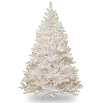 7-foot Winchester White Pine Hinged Tree with Silver Glitter and 450 Clear Lights   Overstock.com Shopping - The Best Deals on Seasonal Decor