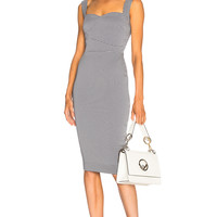 Victoria Beckham Graphic Houndstooth Cami Fitted Dress in Navy & White | FWRD