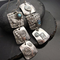 Outrageous Fine silver and Labradorite Earrings by designsbysuzyn