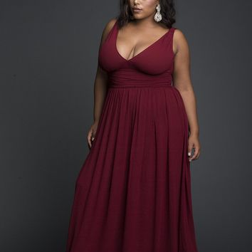 Red Viscose Plunging Maxi Dress