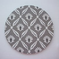mousepad / Mouse Pad / Mat round or rectangle - Steel Flowers - grey trellis