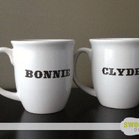 Bonnie and Clyde Coffee Mug Cup Set - His and Hers - Funny Gift