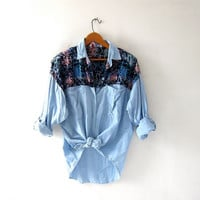 vintage washed out cotton shirt. Batik print shirt. Light wash shirt. Chambray shirt.