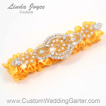 Golden Yellow and Gold Vintage Wedding Garter Rhinestone 658 Saffron Yellow Custom Luxury Prom Garter Plus Size & Queen Size Available