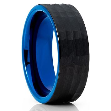 Blue Tungsten Wedding - Hammered - Black Tungsten Ring - Brush - 8mm