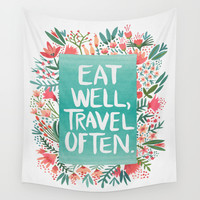 Eat Well, Travel Often Bouquet Wall Tapestry by Cat Coquillette