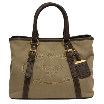 Prada Logo Jacquard Canvas Leather Satchel Bowling Bag with Shoulder Strap 1BA832