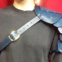 Leather Single Shoulder Armor Pauldron SCA Cosplay Steampunk Halloween Blue