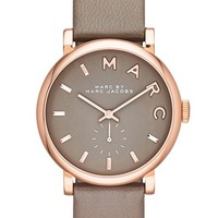 Women's MARC BY MARC JACOBS 'Baker' Leather Strap Watch, 37mm - Grey/ Rose Gold