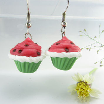 Watermelon Cupcake Earrings