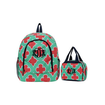Personalized With Embroidery Mint With Navy Blue Trim Geometric Print School Backpack and or Lunch Bag