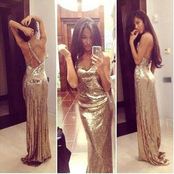 Sleeveless Cross Back Sequin Long Prom Dresses Evening Dresses
