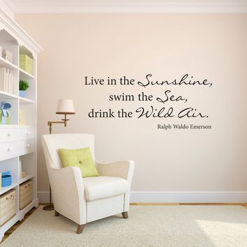 Ralph Waldo Emerson Wall Decal - Drink the Wild Air - Wall Sticker - Large