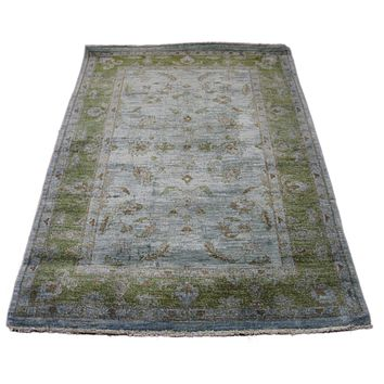 4x6 Emerald Peridot Green Over-Dyed Handknotted Wool Rug 2779