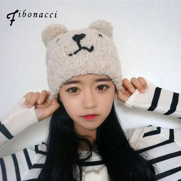 Fibonacci 2017 new teddy bear plush beanie knitted hat cute style kawaii personality warm cap autumn winter hats for women
