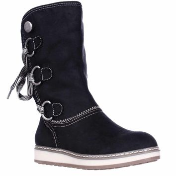 White Mountain Tivia Faux Shearling Lined Winter Boots, Black, 9.5 US