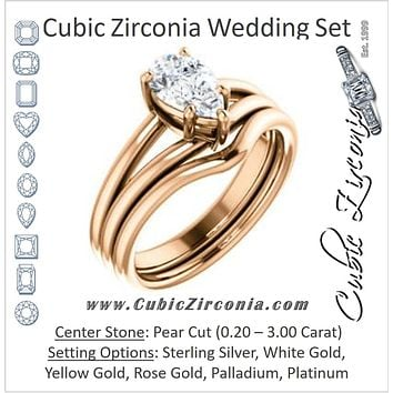 CZ Wedding Set, featuring The Marnie engagement ring (Customizable Pear Cut Solitaire with Grooved Band)