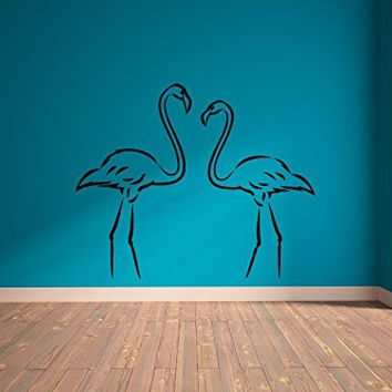 Tropical Flamingos Silhouette Vinyl Wall Decal Sticker Graphic