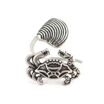 Large Crab and Seashell Adjustable Wire Wrap Ring in Silver