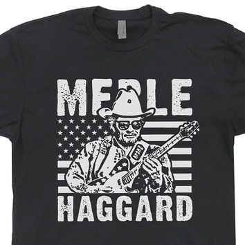 Merle Haggard T Shirt Country Music Legend Highwaymen Vintage Retro Mens / Womens USA American Flag Tee