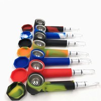Hot Sale Silicone Pipe Portable Tobacco Smoking Pipes Filter Pipa with Screen Herb Grinder Pipe