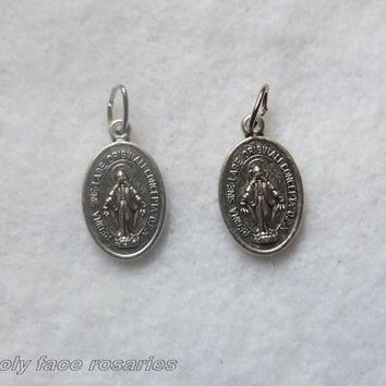 2 Small Immaculate Conception Miraculous Medal Catholic Religious Silver Finished Oxidized Metal Latin Double Sided Pendant Charm Lot Italy