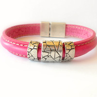 Sale Pink Womens Leather Bracelet / Pink Leather Cuff / Genuine European Leather