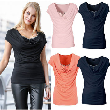 Ruched and Beaded Design Piles Collar T-Shirt