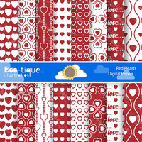 Love Hearts Scrapbooking Papers for Instant Download. Red Hearts Digial Paper. Love Digital Scrapbooking Paper. Valentines Digital Paper