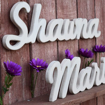 Wooden Nursery Baby Name Sign - First and Middle Name - Nursery, Baby Name, Children's Name, Home Decor