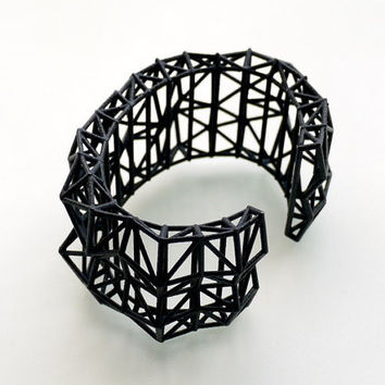 geometric jewelry- Faceted Cuff bracelet in Black. modern design 3D printed. spring fashion gifts, statement jewelry