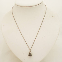 Vintage Sterling Silver Siam Nielloware Bell Pendant, Siam Bell Pendant/Charm with Chain