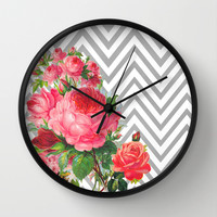 FLORAL CHEVRON Wall Clock by Allyson Johnson