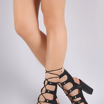 Strappy Studded Lace-Up Chunky Heel