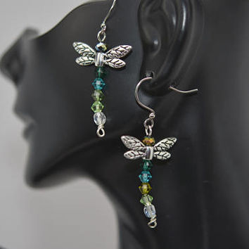 Dragonfly Earrings, Insect Earrings, Green Dragonfly Earrings, Nature Inspired Earrings, Swarovski Crystal Dragonfly Earrings
