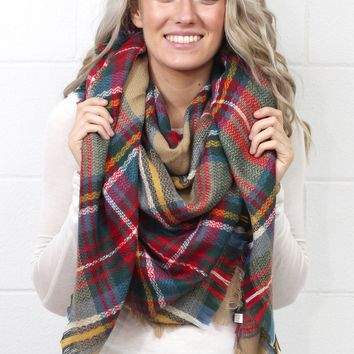 Cozy Plaid Blanket Scarf {Taupe Mix}