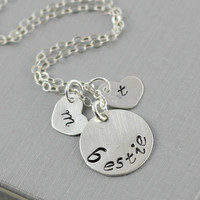 Best Friend Necklace, Bestie Necklace, Sterling Silver Monogram Necklace, Best Friend Gift, Initial Stamp Heart, Endless Love