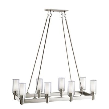 Brushed Nickel Linear Chandelier Collection 8-light