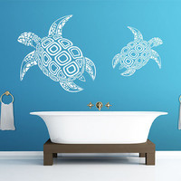 Wall Decal Vinyl Sticker Decals Art Decor Design Couple Turtle Fashion Nice Pattern Style Sea Deep Animals Swim Modern Bedroom Dorm (r368)