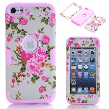 3-in-1 Floral Case Cover For Apple iPod Touch 6 Hybrid Rubber Silicone Phone Cases Fundas w/Screen Protector Film+Stylus Pen
