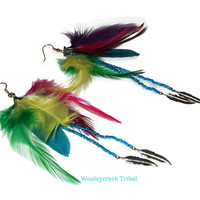 Multicolor Tribal Long Feather And Bead Fringe Earrings