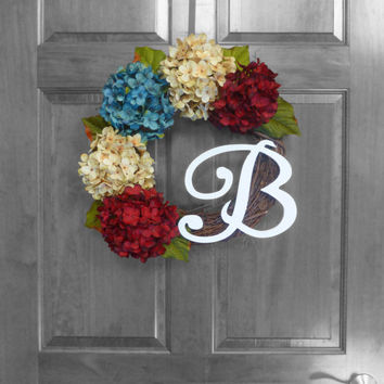 SUMMER SALE Red White Blue Wreath - Patriotic Wreath - Monogrammed Wreath - 4th of July Wreath - Hydrangea Wreath - Front Door Wreaths - Sum