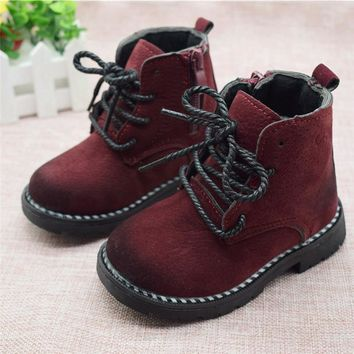 Size 21-30 Fashion 2017 Autumn Boys Baby Boots For Girls Children Martin Boots Kids Ankle Zip Sneakers Girl Casual Toddle Shoes