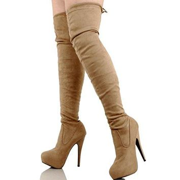 "Guilty Shoes Over The Knee Thigh High - Sexy Pull Up Stiletto - Hidden 1"" Platform - Slouchy High Heel Boots, Taupe Suede, 10"