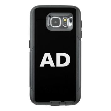 Monogrammed white bold letters on black otterbox samsung galaxy s6 case