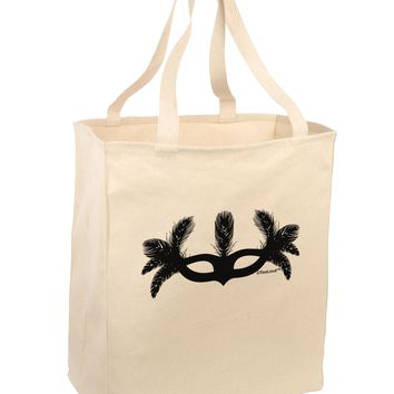 Masquerade Mask Silhouette Large Grocery Tote Bag by TooLoud