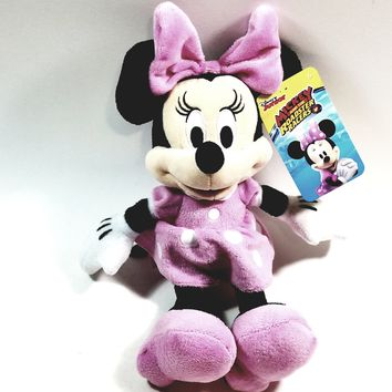 """Disney's Mickeys Roadster Racers Small 12"""" Soft Plush Classic Minnie Mouse Cartoon Character ROADSTER"""
