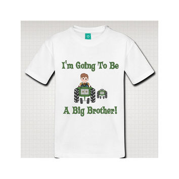 Big Brother on Tractor New Baby Sibling Announcement Shirt - SS5020