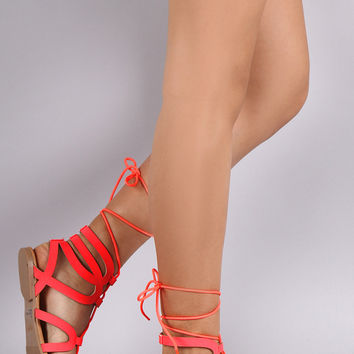 Qupid Strappy Caged Lace Up Flat Sandal