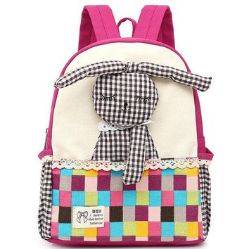 Boys Backpack Bag RUIPAI Children school bags Canvas  Cartoon bunny Kindergarten anti lost Package for girls boy baby kid Quality  AT_61_4